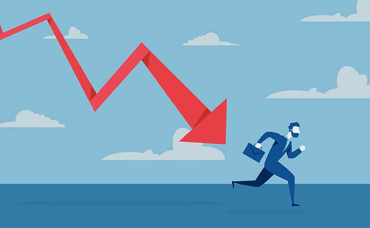 business man falling down