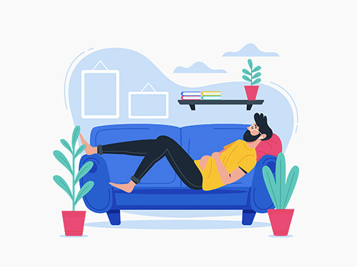 man relaxing at home