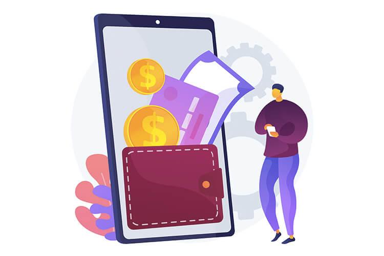 man having digital wallet