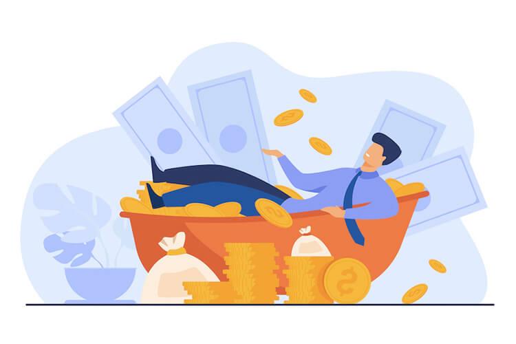 man making money
